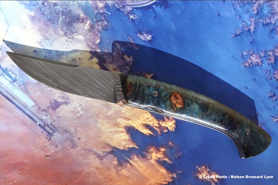Manu LAPLACE-Manche Loupe de Marronnier stabilisé. Acier 14C28N oxydé eau forte