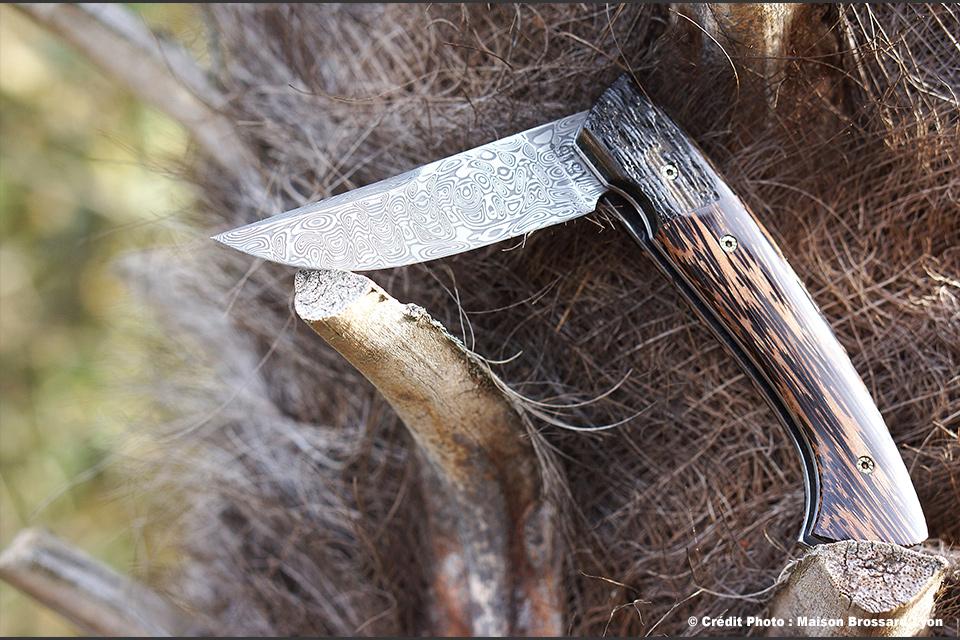 Manu LAPLACE-Manche en Palmier et corne de Gnou. Damas inox 288 couches