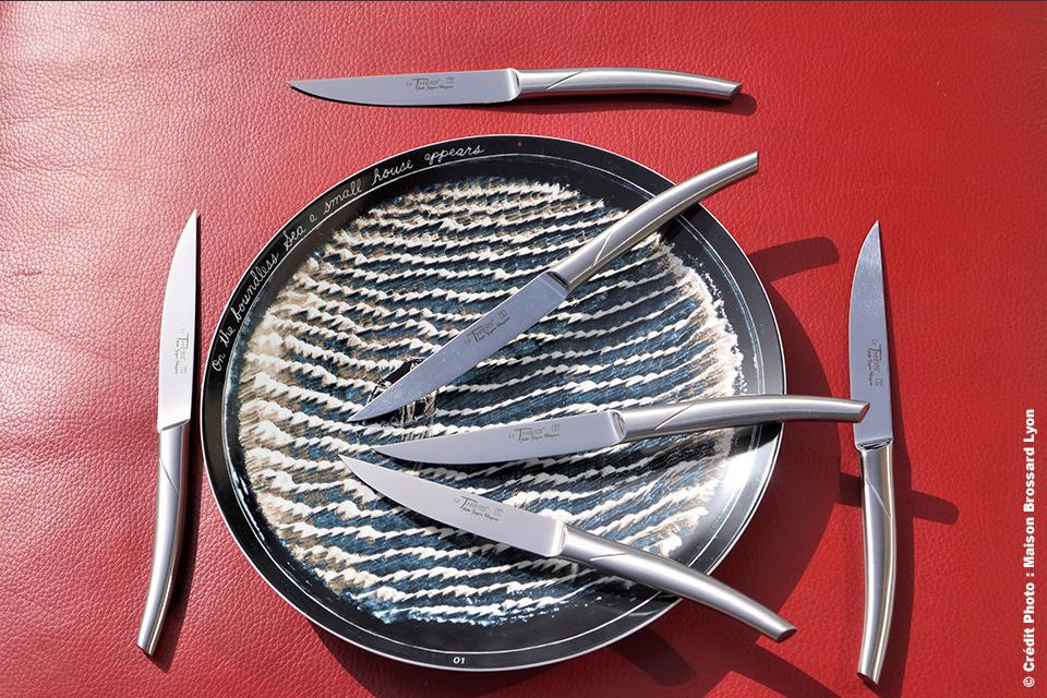 Couteaux de table Le Thiers par Goyon Chazeau monobloc inox (lave-vaisselle). 199€ les 6