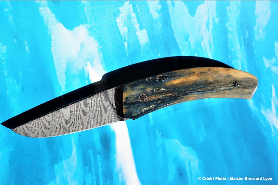 A&J Chomilier. Lame Damas composite artisanal inox et carbone (Mike Norris). Manche mammouth bleu vert et beige. Étui autruche. 1980 €